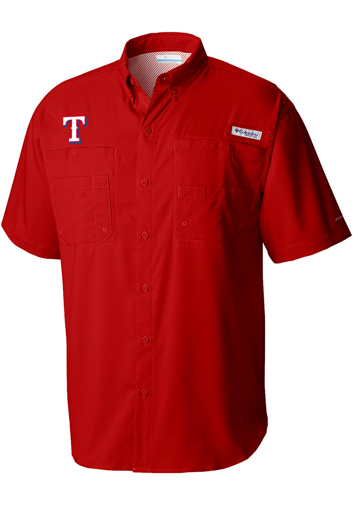 Columbia Texas Rangers Mens Red Tamiami Short Sleeve Dress Shirt - Image 1