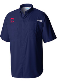 Cleveland Indians Columbia Tamiami Dress Shirt - Navy Blue
