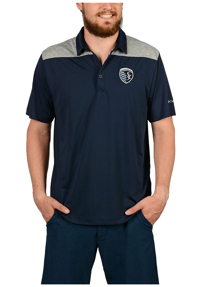 Columbia Sporting Kansas City Mens Navy Blue Utility Short Sleeve Polo - Image 1
