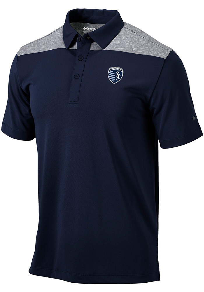 Columbia Sporting Kansas City Mens Navy Blue Utility Short Sleeve Polo - Image 2