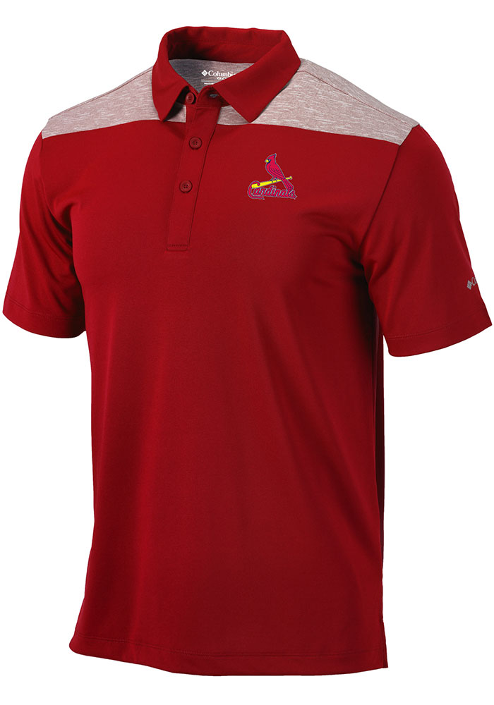 Columbia St Louis Cardinals Mens Red Utility Short Sleeve Polo - Image 1
