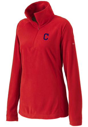Columbia Cleveland Indians Womens Glacial Red 1/4 Zip Pullover