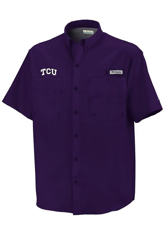 Columbia TCU Horned Frogs Mens Purple Tamiami Short Sleeve Dress Shirt - Image 1