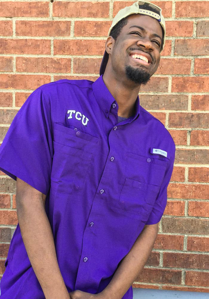 Columbia TCU Horned Frogs Mens Purple Tamiami Short Sleeve Dress Shirt - Image 2