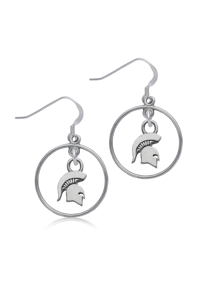 Michigan State Spartans Womens Open Drop Earrings - Silver