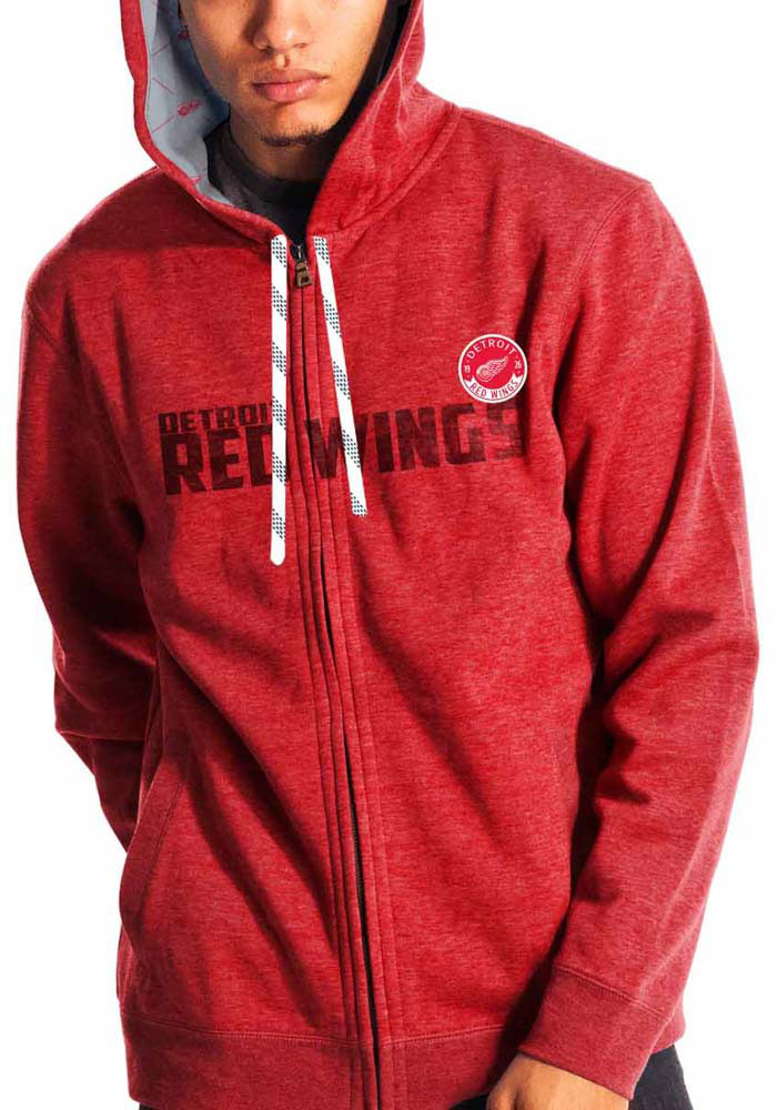 Levelwear Detroit Red Wings Mens Red screen printed and embroidered Long Sleeve Zip Fashion - Image 1