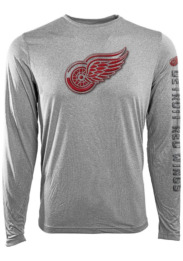 Detroit Red Wings Grey screen printed Long Sleeve T-Shirt - Image 1
