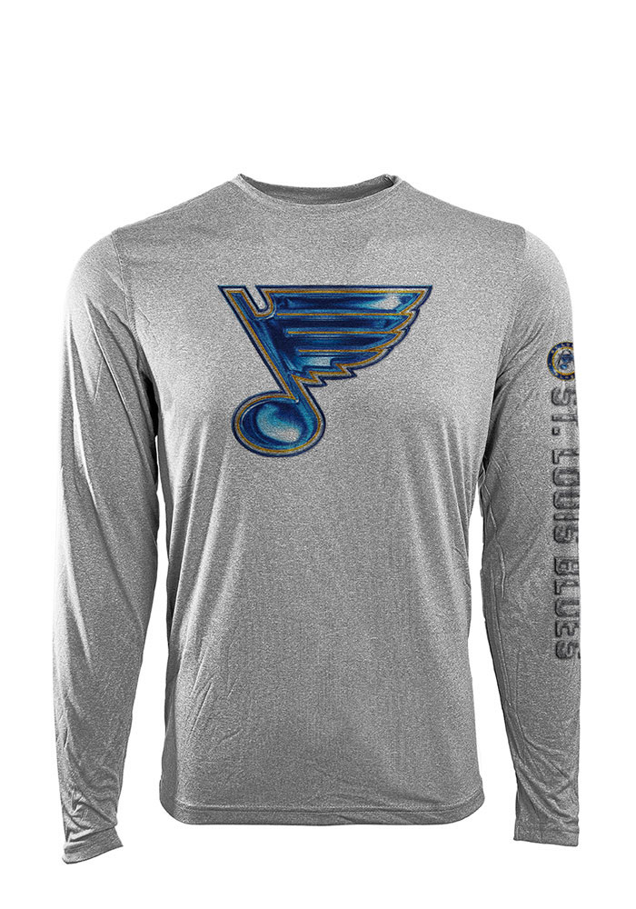 St Louis Blues Grey Screen Printed Long Sleeve T-Shirt - Image 1
