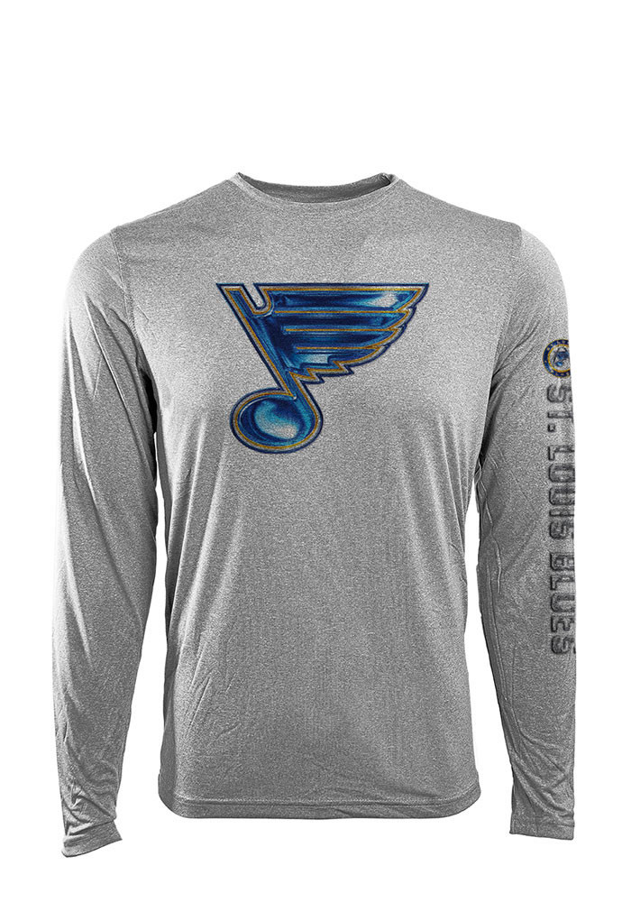 St louis blues mens grey screen printed long sleeve t for St louis t shirt printing