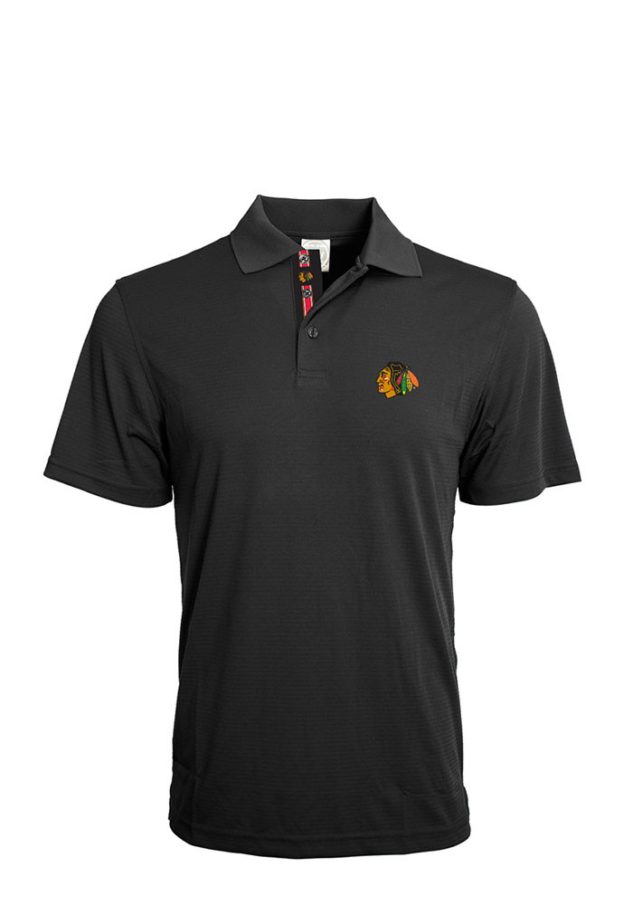 Chicago Blackhawks Mens Black Evolve Short Sleeve Polo - Image 1