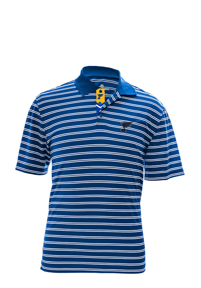 St Louis Blues Mens Blue Manning Short Sleeve Polo - Image 1
