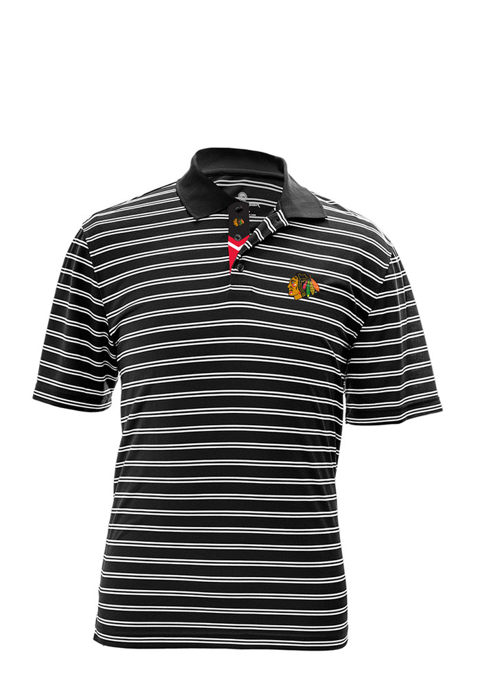Chicago Blackhawks Mens Black Manning Short Sleeve Polo - Image 1