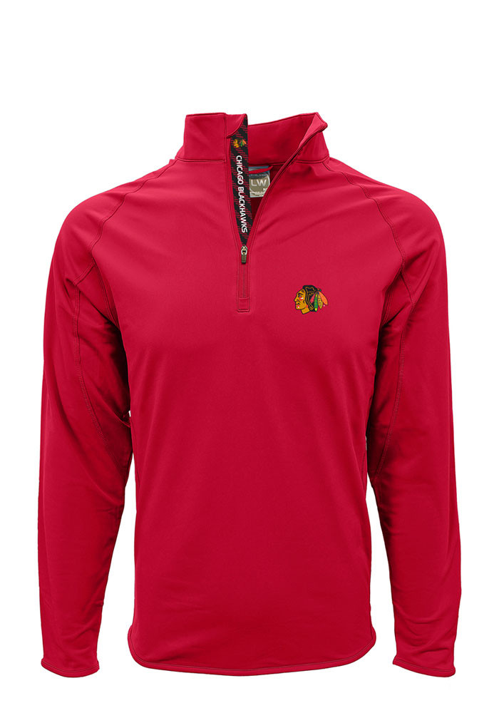 Chicago Blackhawks Mens Red Metro Long Sleeve 1/4 Zip Pullover - Image 1