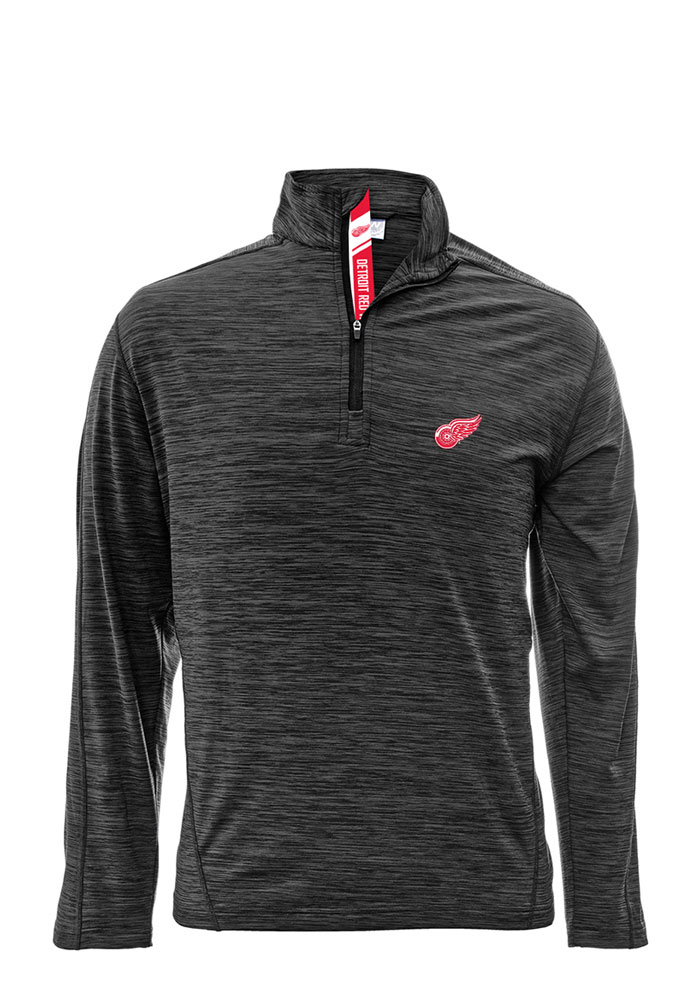 Detroit Red Wings Mens Charcoal Armour Long Sleeve 1/4 Zip Pullover - Image 1