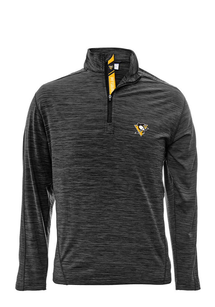 Pittsburgh Penguins Mens Grey Armour Long Sleeve 1/4 Zip Pullover - Image 1