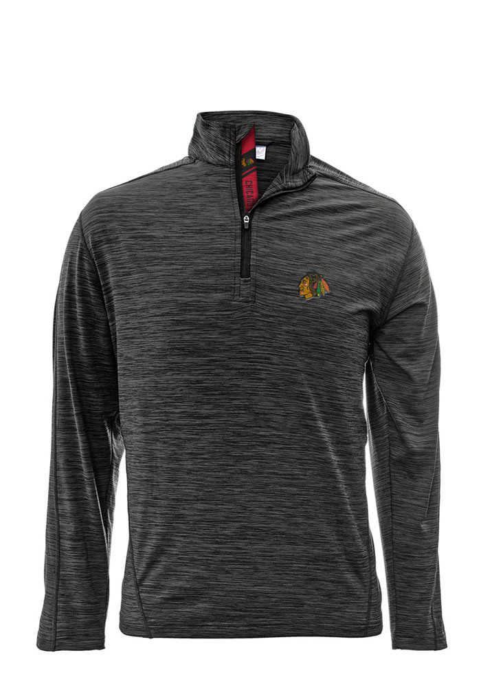 Chicago Blackhawks Mens Grey Armour Long Sleeve 1/4 Zip Pullover - Image 1