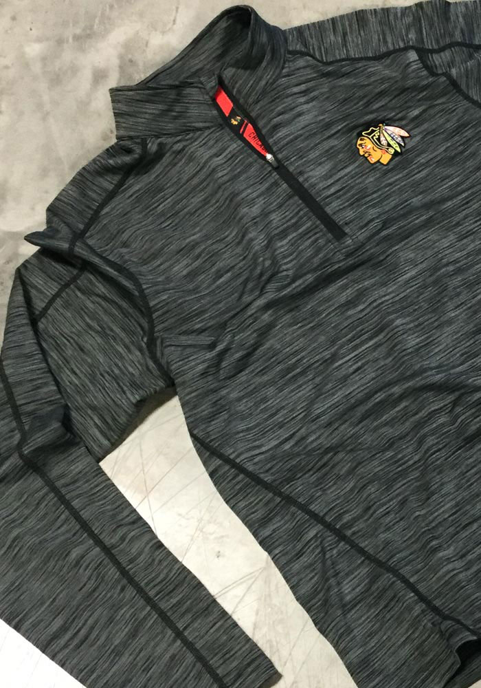 Chicago Blackhawks Mens Grey Armour Long Sleeve 1/4 Zip Pullover - Image 2