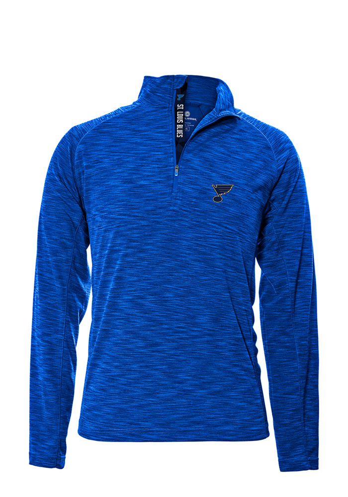 St Louis Blues Mens Blue Mobility Long Sleeve 1/4 Zip Pullover - Image 1