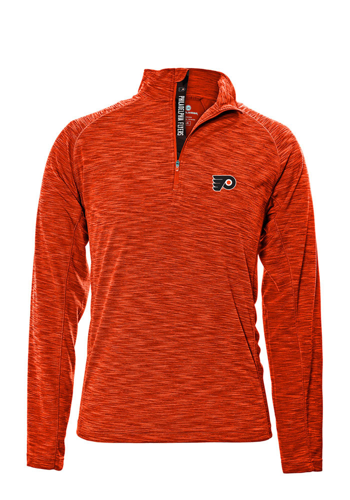 Philadelphia Flyers Mens Orange Mobility Long Sleeve 1/4 Zip Pullover - Image 1