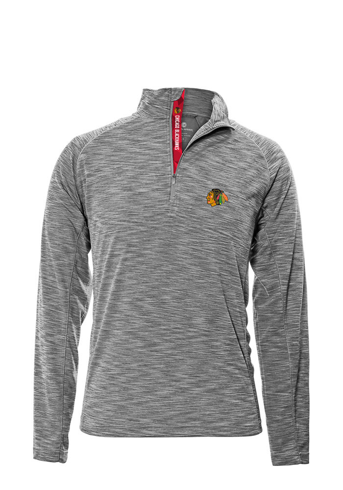 Chicago Blackhawks Mens Grey Mobility Long Sleeve 1/4 Zip Pullover - Image 1