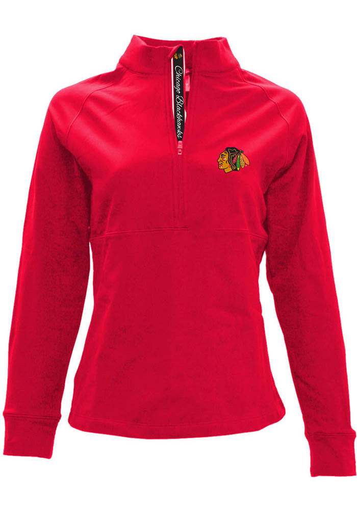 Chicago Blackhawks Womens Red Harmony 1/4 Zip Pullover - Image 1