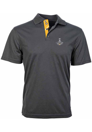 Pitt Penguins Mens Grey 2017 Stanley Cup Champions Short Sleeve Polo Shirt