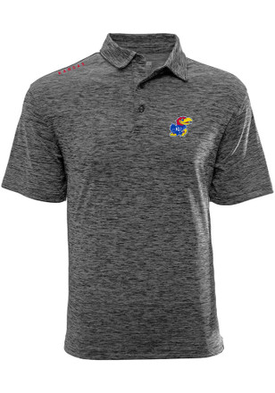 Kansas Jayhawks Mens Grey Haze Short Sleeve Polo Shirt