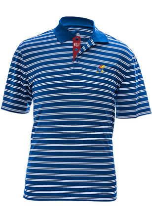 Kansas Jayhawks Mens Blue Manning Icon Short Sleeve Polo Shirt