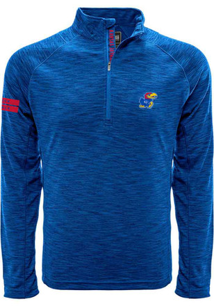 Kansas Jayhawks Mens Blue Insignia Strong 1/4 Zip Pullover