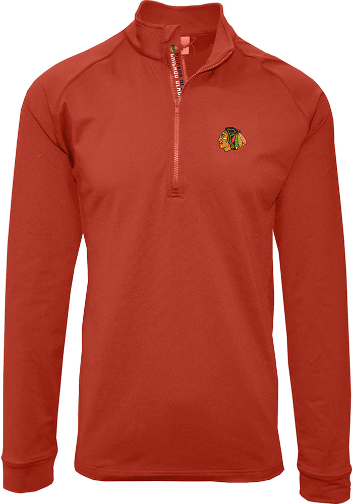 Chicago Blackhawks Mens Red Calibre Long Sleeve 1/4 Zip Pullover - Image 1