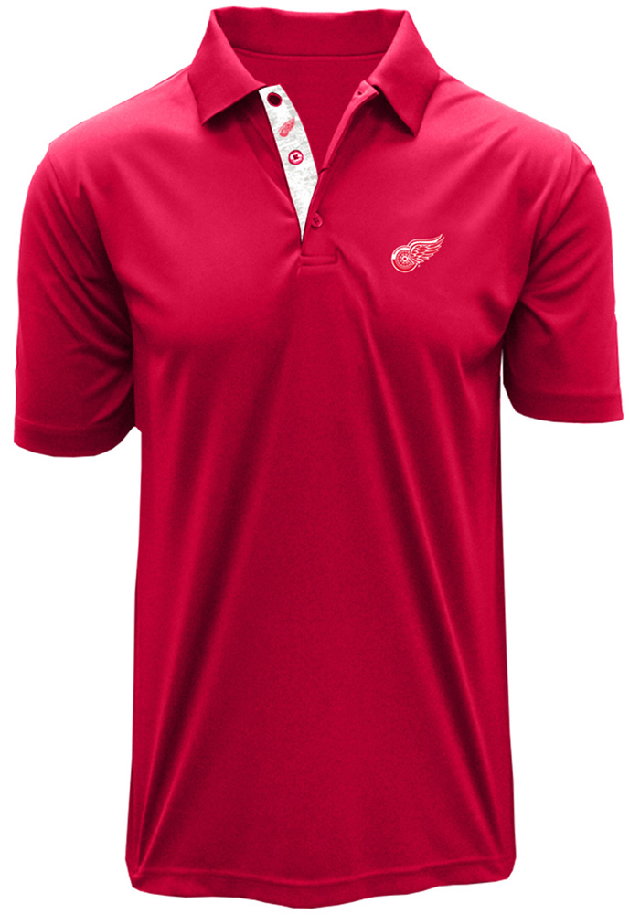 Detroit Red Wings Mens Red Dwayne Short Sleeve Polo - Image 1