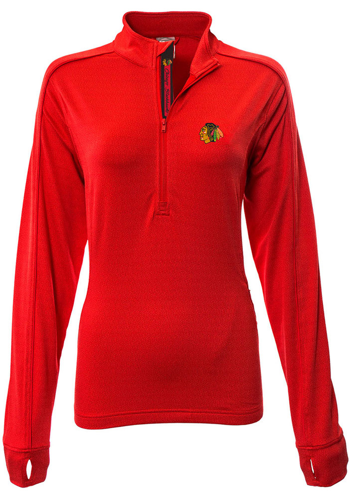 Chicago Blackhawks Womens Red Pacer Aztext Script 1/4 Zip Pullover - Image 1