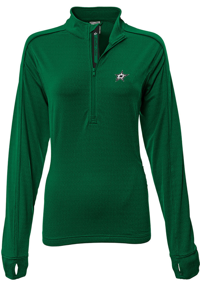 Dallas Stars Womens Green Pacer Aztext Script 1/4 Zip Pullover - Image 1