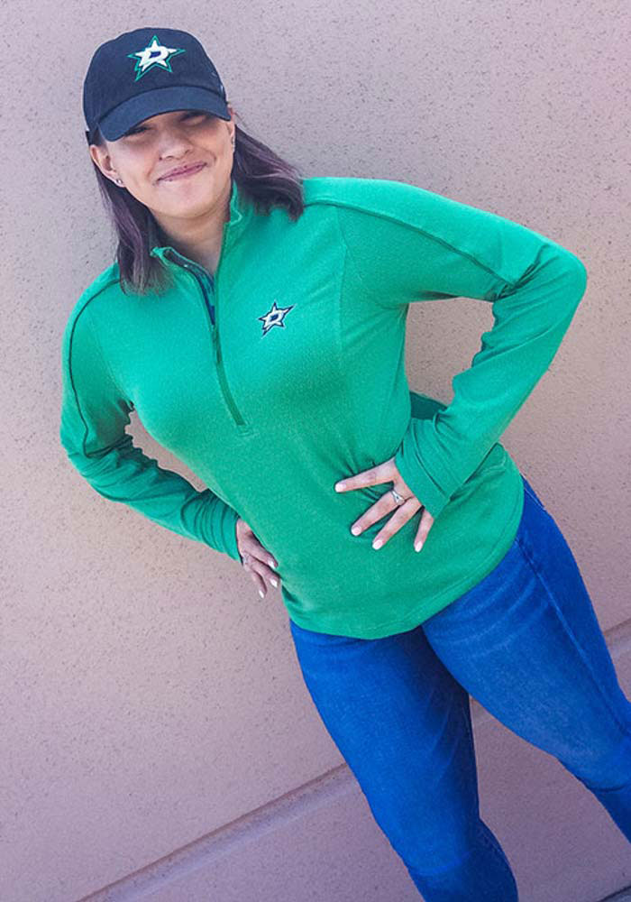 Dallas Stars Womens Green Pacer Aztext Script 1/4 Zip Pullover - Image 2