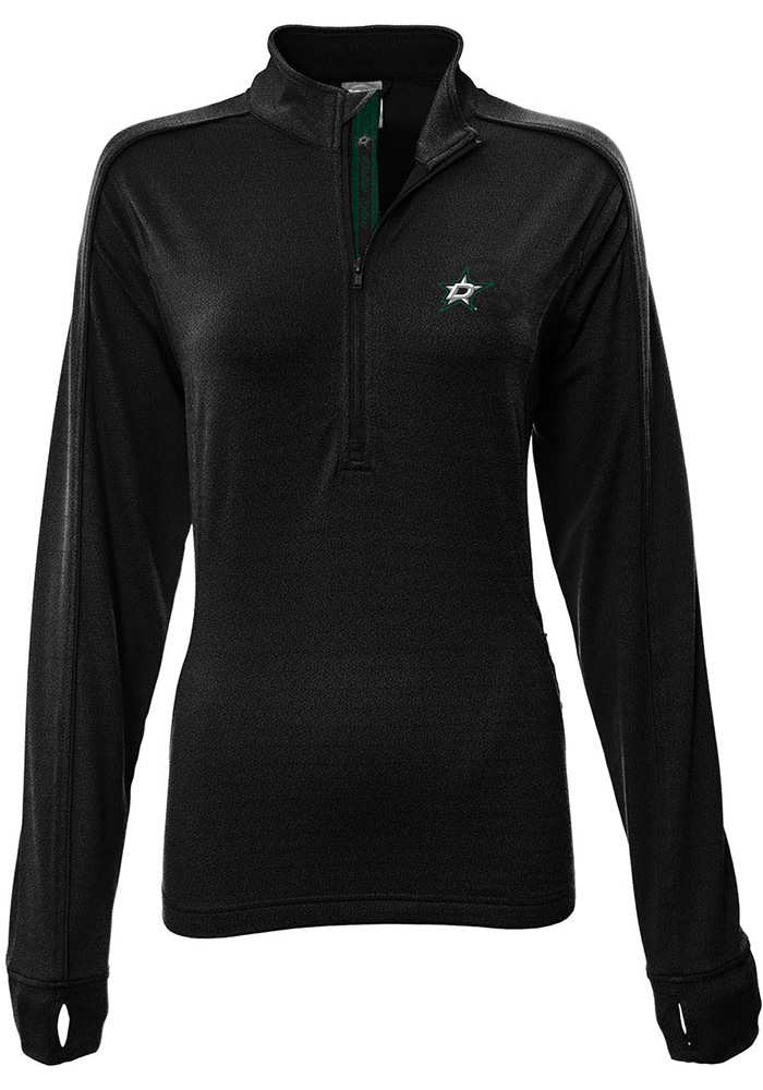 Dallas Stars Womens Black Pacer Aztext Script 1/4 Zip Pullover - Image 1