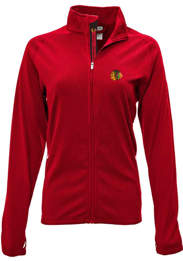 Chicago Blackhawks Womens Red Progression Aztext Script Long Sleeve Full Zip Jacket - Image 1