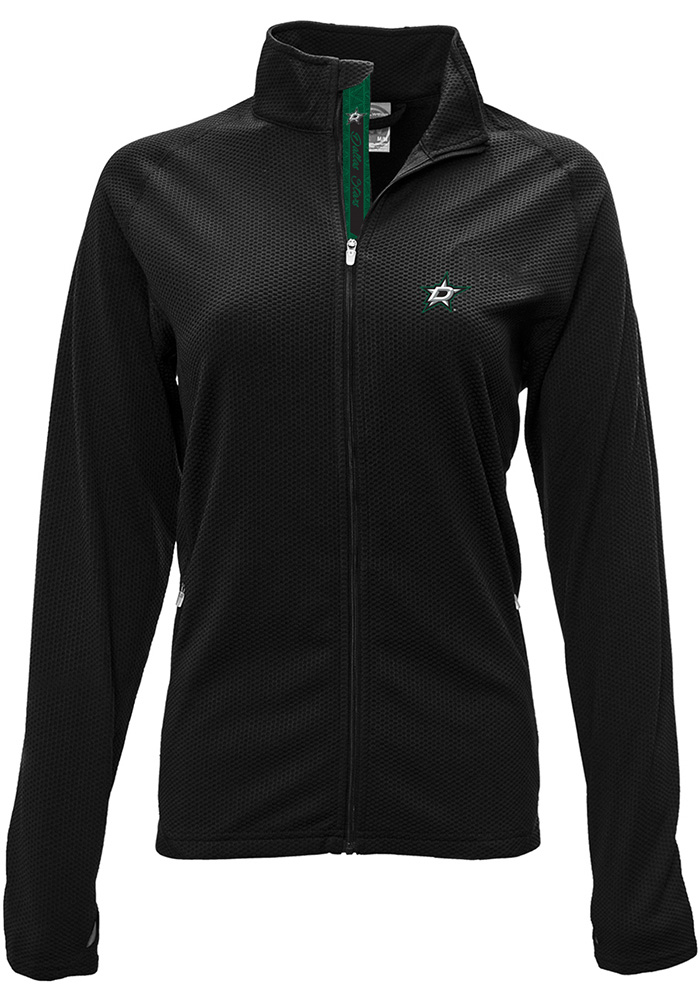 Dallas Stars Womens Black Progression Aztext Script Long Sleeve Full Zip Jacket - Image 1