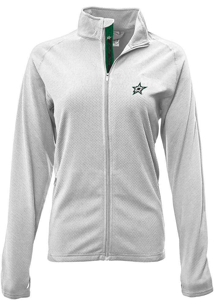 Dallas Stars Womens White Progression Aztext Script Long Sleeve Full Zip Jacket - Image 1