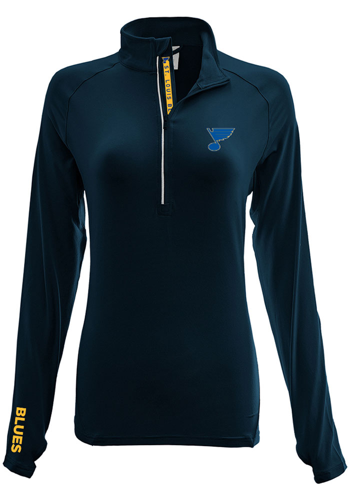 STL Blues Womens Navy Blue Energy 1/4 Zip Pullover - Image 1