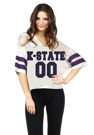 K-State Wildcats Womens Grey Sparkle Jersey Football Jersey