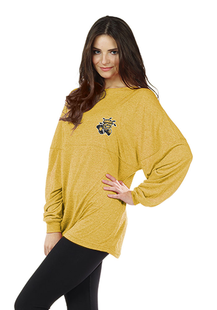 Wichita State Shockers Womens Gold Floral LS Tee - Image 1