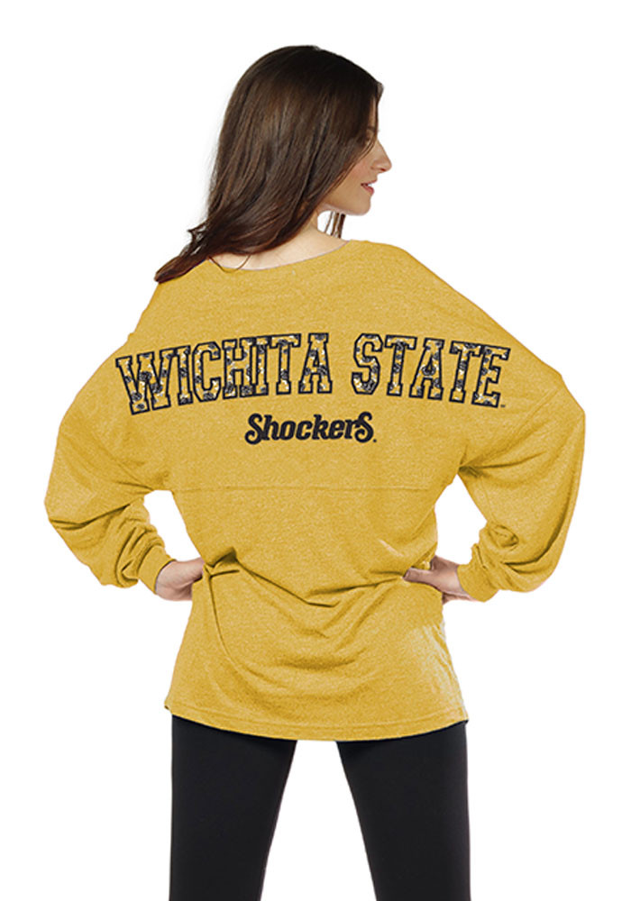 Wichita State Shockers Womens Gold Floral LS Tee - Image 2