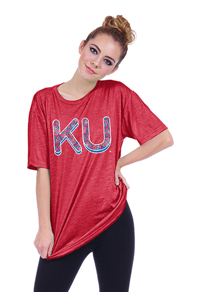 Kansas Jayhawks Womens Red Top Dyed Short Sleeve Crew T-Shirt - Image 1