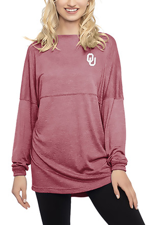 Oklahoma Womens Floral Red LS Tee