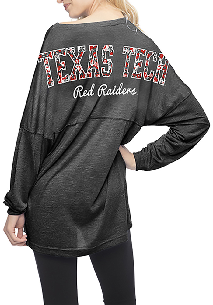 Texas Tech Red Raiders Womens Black Floral LS Tee - Image 2