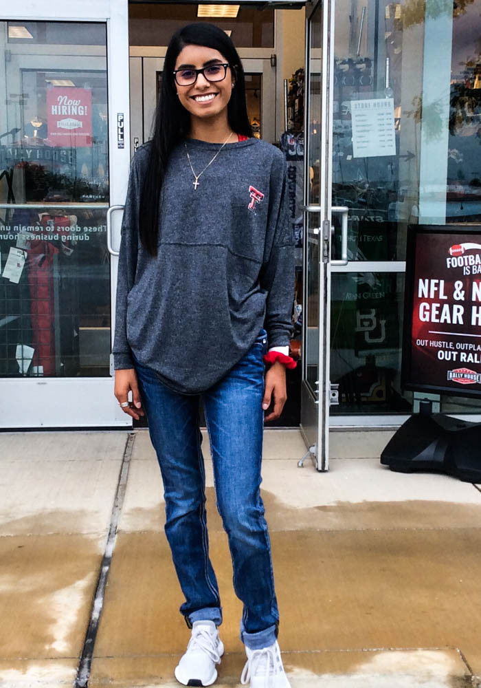 Texas Tech Red Raiders Womens Black Floral LS Tee - Image 3