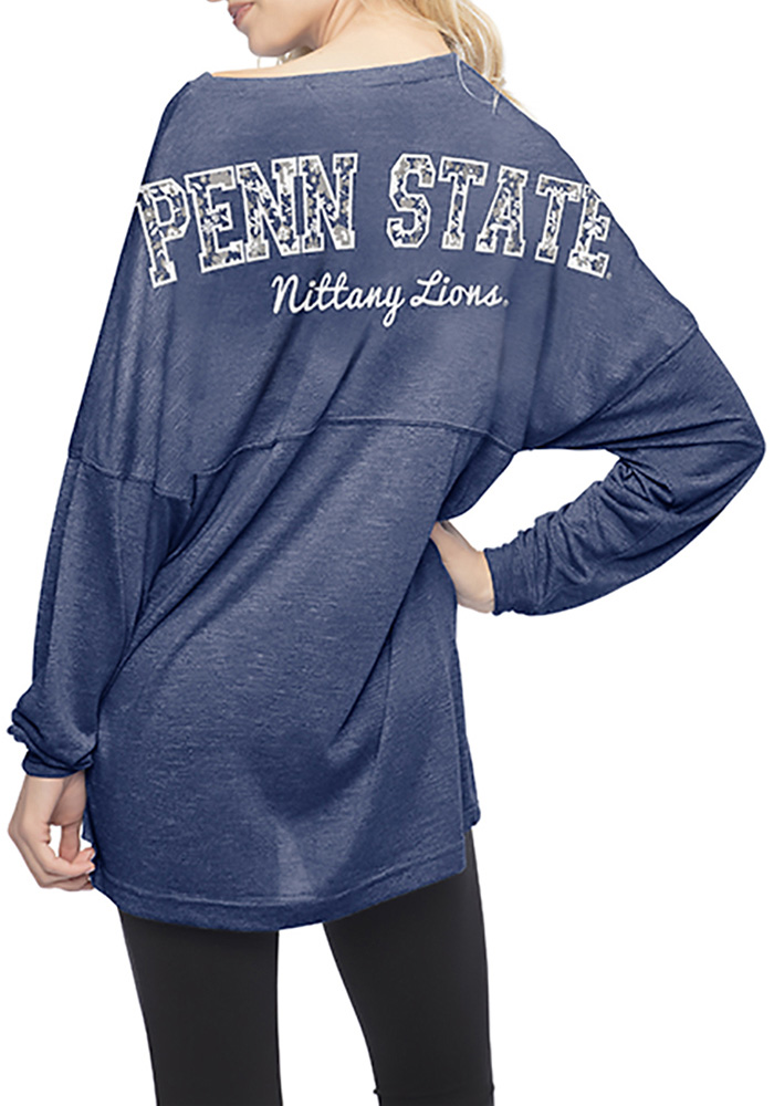 Penn State Nittany Lions Womens Navy Blue Floral LS Tee - Image 3