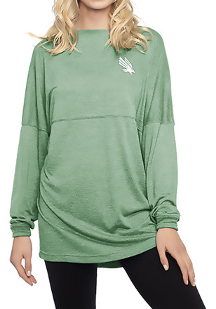 North Texas Mean Green Womens Floral Green LS Tee