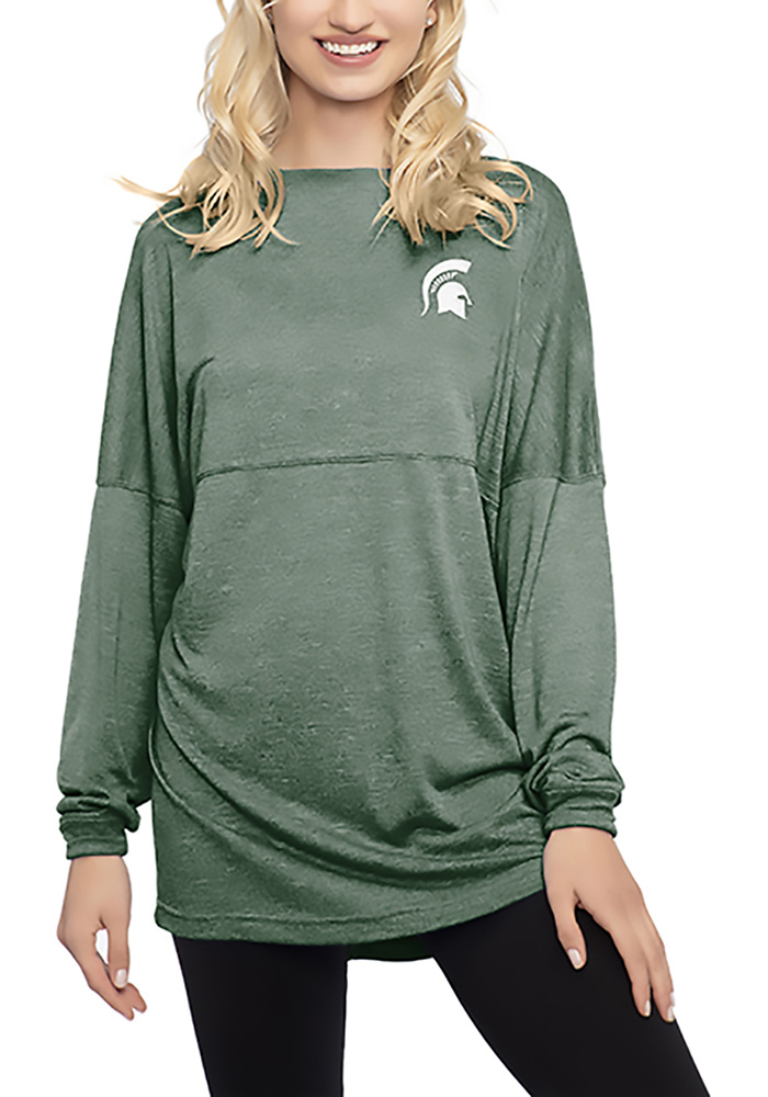 Michigan State Spartans Womens Green Floral LS Tee - Image 1