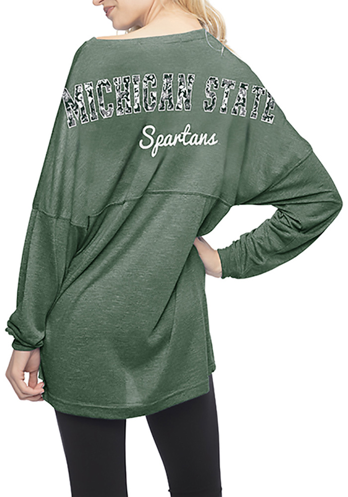 Michigan State Spartans Womens Green Floral LS Tee - Image 2